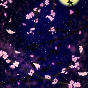 【スマホ用壁紙】夜桜を見上げる猫