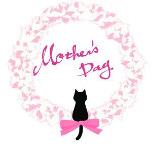 【母の日】カーネーションと黒猫シルエット