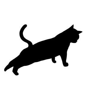 シルエット後ろ足をのばす猫