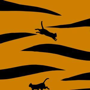 【寅年年賀状】トラ柄と猫のシルエット
