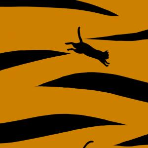 【スマホ用壁紙】トラ柄と猫のシルエット