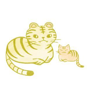 トラと並んで座る猫のイラスト