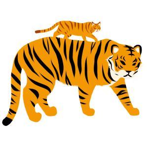 虎とトラ猫のイラスト