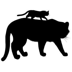 シルエット虎と猫