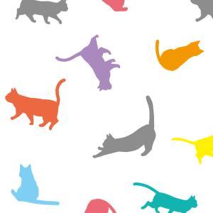 【スマホ用壁紙】たくさんの猫のシルエット(カラフルver.)