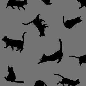 【スマホ用壁紙】たくさんの猫のシルエット(グレー×ブラックver.)