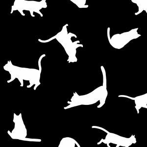 【スマホ用壁紙】たくさんの猫のシルエット(ブラック×ホワイトver.)