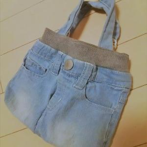 娘ちゃんのデニム&産着をリメイクして、思い出いっぱいのバッグを作ったよ♡