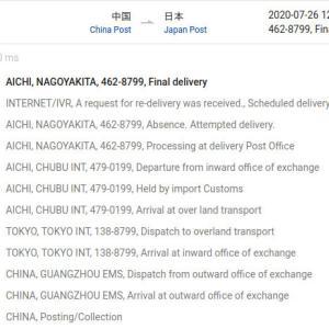 ここ最近の(郵便系)海外配送状況、CNとかNLとか
