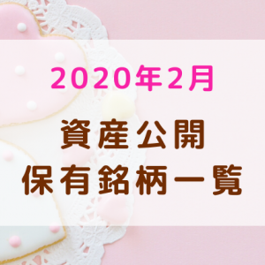 【2020年2月】資産公開・保有銘柄一覧