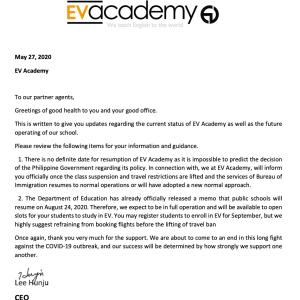 【EV Academy】再開予定日の変更について