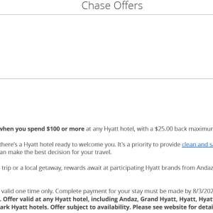 Chase Hyatt 10%キャッシュバック・オファー