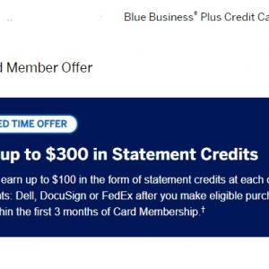 Amex Blue Business Plus 300ドルクレジット・オファーに注意