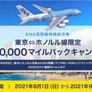 ANA: 特典航空券で東京⇔ホノルル線最大10,000マイルバックキャンペーン!!