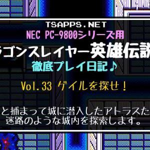 PC-98版英雄伝説2攻略(33)迷路のような城内を探索してゲイルを探せ!☆『ドラゴンスレイヤー英雄伝説2 徹底プレイ日記』