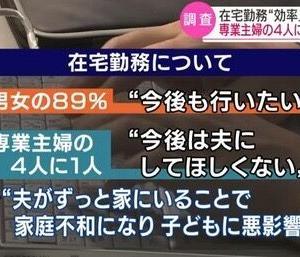 【悲報】専業主婦の25%が「夫に在宅勤務をして欲しくない」と回答www