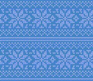 ノルディック柄ニット編み目イラスト素材 雪の結晶(Nordic knit pattern)