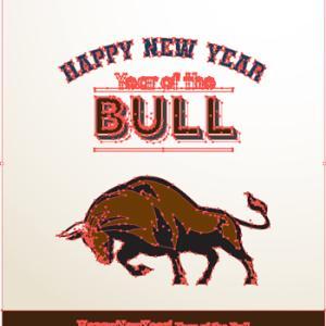 年賀状デザイン 干支ウシ (Happy New Year Year of the Bull )