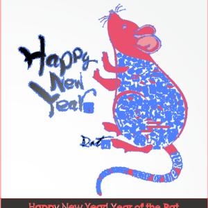 年賀状デザイン 縁起物アイコン子年 (Happy New Year! Year of the icon Rat)