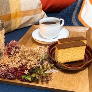 秋モードでまったりお茶タイム♪カステラが食べたくなる季節なのです。