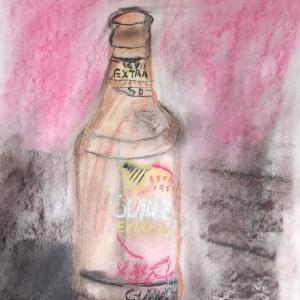 乾杯したいが飲めず!絵を描くのみ