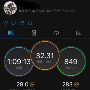 9/25  街道練習1時間♂️  ボーラワンの慣らしは残り18km