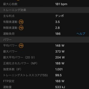 10/17  パワートレーニング FTP 120%1'×10 r=1'  ランとは違う筋肉を使う
