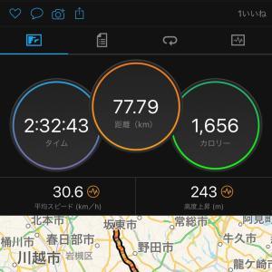 1/17 江戸川サイクリングロード77kmコース アウタートップ縛りトレーニング