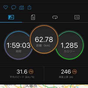 7/24 江戸サイ往復60kmコース  ローラーと実走の210Wの違い