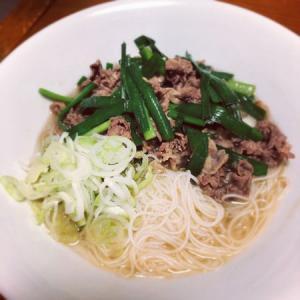 牛肉とネギで作る簡単牛肉汁麺