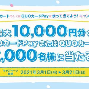 QUOカードorQUOカードPayを使うと最大10,000円分のQUOカードorQUOカードPayが抽選で2,000人に当たる!