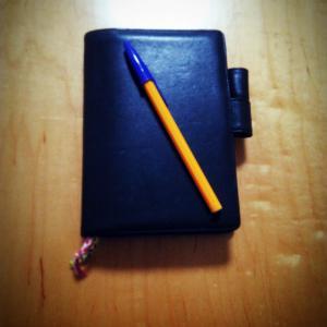 手帳を青ペンで書いてみる。