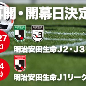 2020明治安田生命Jリーグ再開・開幕日決定!