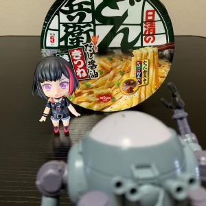 『カップ麺』(〃´д` )ノ{…日清♪【どん兵衛 だし醤油きつね焼うどん】