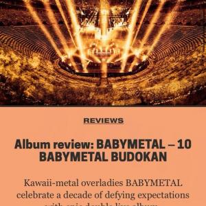 Kerrangの「10BABYMETAL BUDOKANライブアルバム」レビュー