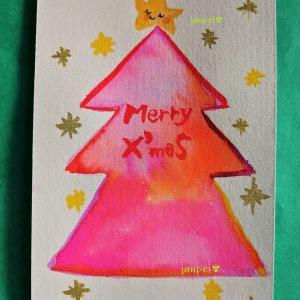 ハンドメイドクリスマスのリースと筆ペンで描いたカードです♪