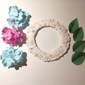 紙で紫陽花の可愛いリースを作りました♪