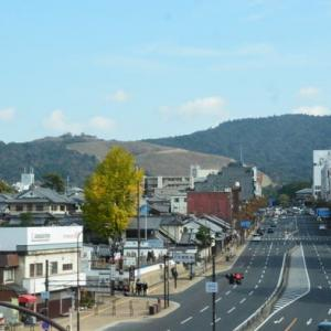 奈良の空にCH-47Jが、遠くの御蓋山も色づく秋