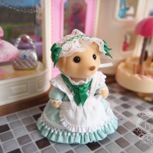 ユザワヤ素材とミントグリーンのメイド服