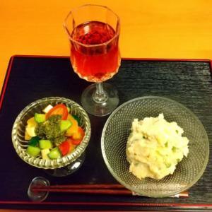 夕食と井筒ワインのロゼ