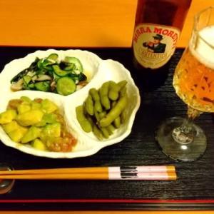 夕食とモレッティビール