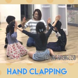 小学生クラスにて。Hand Clapping をみんなでやってみました(ゲーム前...
