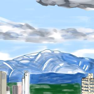 病室から望む太平山