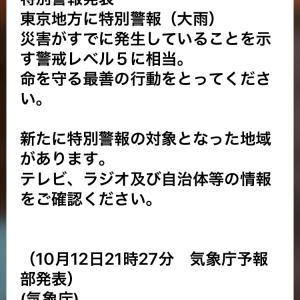 東京地方に特別警報レベル5と停電あり!