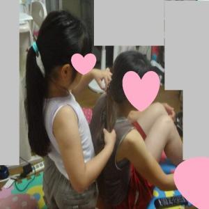 夏休み7日目 美容師さんごっこ