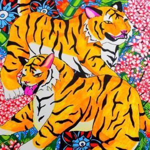 4月の絵画『虎と桜吹雪』