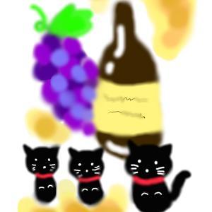 秋の味覚イラスト『ぶどう酒』