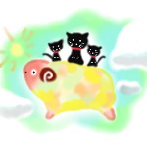 イラスト作品『空飛ぶ羊さん★魚釣り』