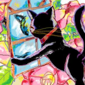黒猫イラスト『ねこと薔薇』