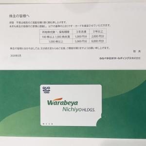 株主優待で1,000円分のクオカードをいただきました(わらべや日洋HD)